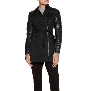 Walter Baker black leather sleeve trench coat